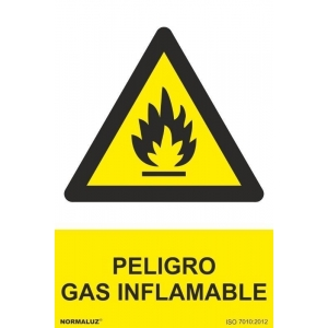 Señal adhesiva gas inflamable vinilo 100x150mm NORMALUZ