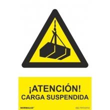 Señal atencion carga suspendida pvc 210x300x0,7mm NORMALUZ