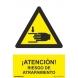 Señal adhesiva riesgo de atrapamiento vinilo 150x200mm NORMALUZ