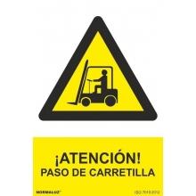 Señal atencion paso de carretilla 210x300x0,7mm NORMALUZ