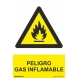 Señal peligro gas inflamable pvc 210x300x0,7mm NORMALUZ
