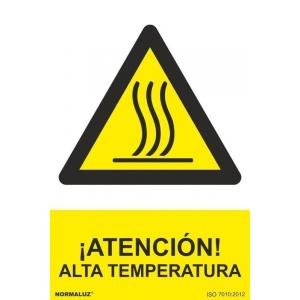 Señal atencion alta temperatura pvc 300x400x0,7mm NORMALUZ