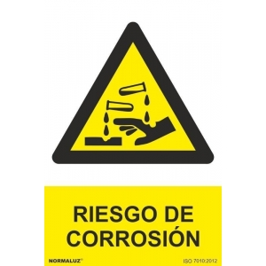 Señal riesgo de corrosion pvc 210x300x0,7mm NORMALUZ