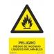 Señal atencion liquidos inflamables pvc 210x300x0,7mm NORMALUZ
