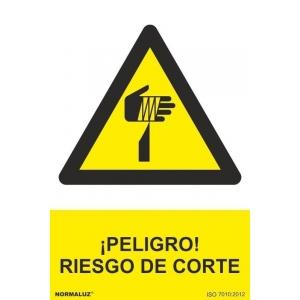 Señal riesgo de corte pvc 210x300x0,7mm NORMALUZ