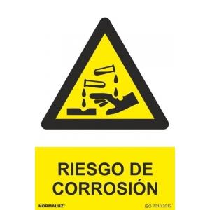 Señal adhesiva riesgo de corrosion vinilo 200x300mm NORMALUZ