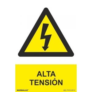 Señal peligro alta tension pvc 210x300x0,7mm NORMALUZ