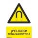 Señal adhesiva peligro zona magnetica vinilo 200x300mm NORMALUZ