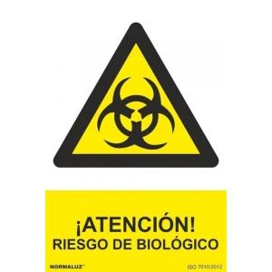 Señal atencion riesgo biologico pvc 210x300x0,7mm NORMALUZ