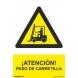 Señal adhesiva atencion paso de carretilla vinilo 200x300mm NORMALUZ