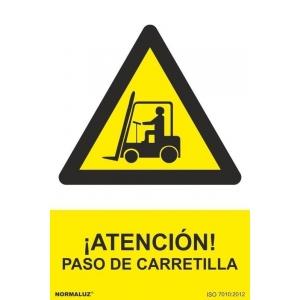 Señal atencion paso de carretilla aluminio 210x300x0,5mm NORMALUZ
