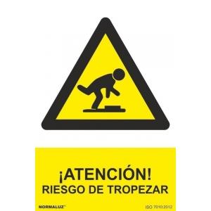 Señal atencion riesgo de tropezar aluminio 210x300x0,5mm NORMALUZ