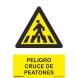 Señal peligro cruce de peatones aluminio 210x300x0,5mm NORMALUZ