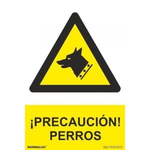 Señal precaucion perros pvc 300x400x0,7mm NORMALUZ