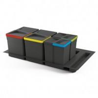 Emuca Contenedores de reciclaje, 15 L + 15 L + 7L + 7 L, módulo 900 mm, Plástico, Gris antracita, 4 ud. + Base