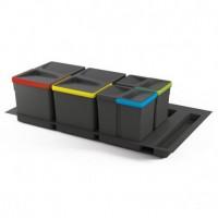 Emuca Contenedores de reciclaje, 12 L + 12 L + 6L + 6 L, módulo 900 mm, Plástico, Gris antracita, 4 ud. + Base