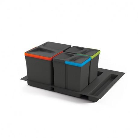Emuca Contenedores de reciclaje, 12 L + 6L + 6L, módulo 600 mm, Plástico, Gris antracita, 3 ud. + Base