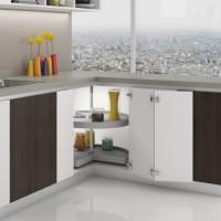 Emuca juego bandejas giratorias mueble de cocina, 270º , módulo 800 mm, Plástico y aluminio, Gris