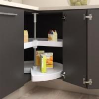 Emuca juego bandejas giratorias mueble de cocina, 270º , módulo 900 mm, Plástico y aluminio, Blanco