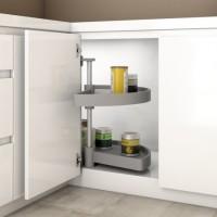 Emuca juego bandejas giratorias mueble de cocina, 180º, módulo 900 mm, Plástico, Gris
