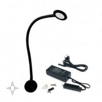Emuca Aplique LED, redondo, brazo flexible, sensor táctil, 2 USB, Luz blanca natural, Plástico, Negro + Convertidor 30W
