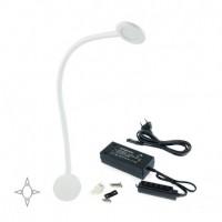 Emuca Aplique LED, redondo, brazo flexible, sensor táctil, 2 USB, Luz blanca natural, Plástico, Blanco + Convertidor 30W