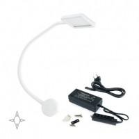 Emuca Aplique LED, cuadrado, brazo flexible, sensor táctil, 2 USB, Luz blanca natural, Plástico, Blanco + convertidor 30W