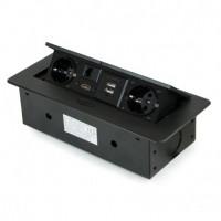 Emuca Multiconector de mesa, 2 USB + 1 HDMI + 2 enchufes EU, 265x120mm, Acero y aluminio, Negro
