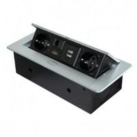Emuca Multiconector de mesa, 2 USB + 1 HDMI + 2 enchufes EU, 265x120mm, Acero y aluminio, color aluminio