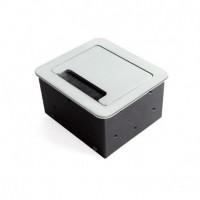 Emuca Multiconector de mesa, 2 USB +1 HDMI + 1 enchufe EU, 145x130 mm, Acero y aluminio, color aluminio