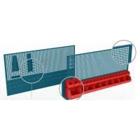 Panel perforado 2000x25x800mm con espacio para cubetas HECO