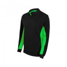 Polo bicolor manga larga 105514-0-25 negro/verde lima VELILLA