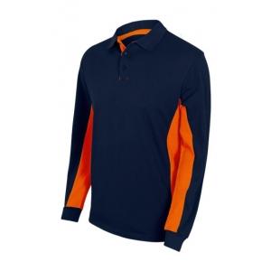 Polo bicolor manga larga 105514-61-16 azul navy/naranja VELILLA