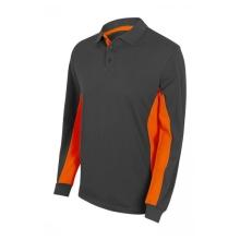 Polo bicolor manga larga 105514-8-16 gris/naranja VELILLA