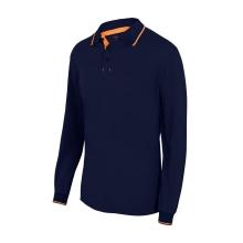 Polo bicolor raya manga larga 105515-61-19 azul navy/naranja VELILLA