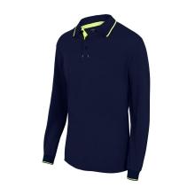Polo bicolor raya manga larga 105515-61-20 azul navy/amarill VELILLA