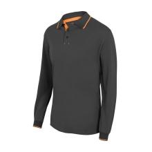 Polo bicolor raya manga larga 105515-8-19 gris/naranja VELILLA