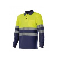 Polo manga larga alta visibilidad 305507-70 amarillo/azul VELILLA