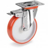 Rueda serie 60 inox giratoria con freno ø125mm 220Kg poliure TELLURE