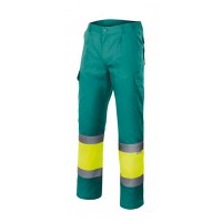 Pantalon alta visibilidad 157-120 verde/amarillo VELILLA