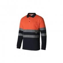 Polo algodón manga larga alta visibilidad naranja/azul VELILLA