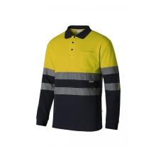 Polo algodón manga larga alta visibilidad amarillo/azul VELILLA