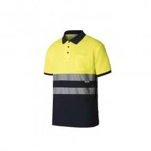 Polo algodón manga corta alta visibilidad amarillo/azul VELILLA