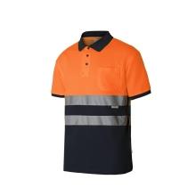 Polo algodón manga corta alta visibilidad naranja/azul VELILLA