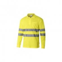 Polo algodón manga larga alta visibilidad amarillo VELILLA