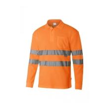 Polo algodón manga larga alta visibilidad naranja VELILLA