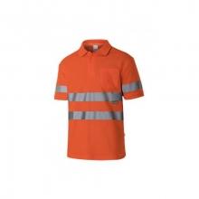 Polo algodón manga corta alta visibilidad naranja VELILLA
