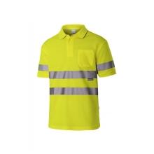 Polo algodón manga corta alta visibilidad amarillo VELILLA