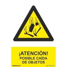 """Señal riesgo """"Posible caída de objetos"""" vinilo adhesivo 15 NORMALUZ"""