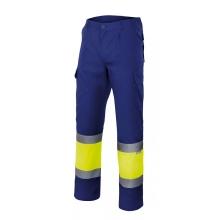 Pantalon alta visibilidad 156-140 amarillo fluorescente/azul VELILLA